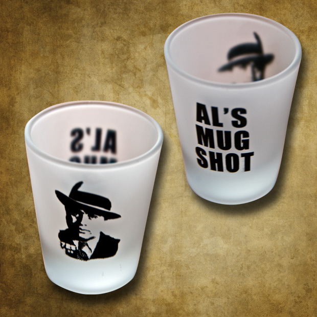 "Al Capone ""mug"" shot glass"