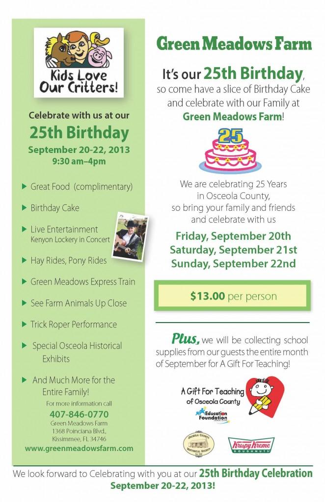 Green Meadows Petting Farm birthday flier