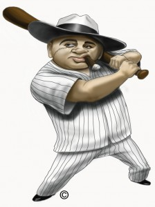 Illustration of Al Capone ready to swing a bat during Spring Training in Central Florida.
