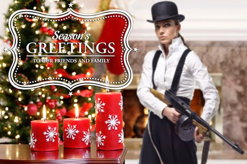 Female gangster in a Christmas setting