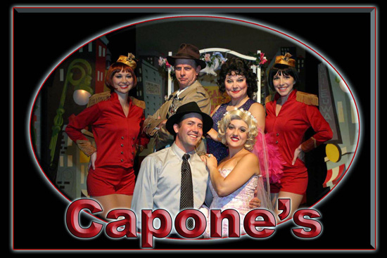 Guest with actors at Capone's Dinner Show