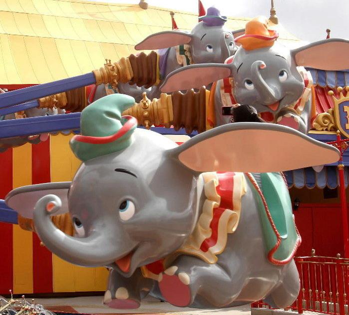 The new Dumbo ride at Disney World's Magic Kingdom Storybook Circus area