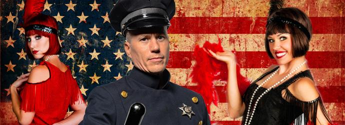 Flapper dancers and beat cop