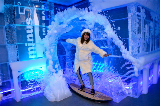 Go surfin' at the new Minus5 Ice Bar in Orlando
