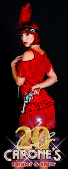 Dancer from Capone's Dinner & Show holding a pistol