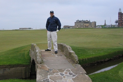On the famous Swilken Bridge after Werner's tee shot on the 18th.