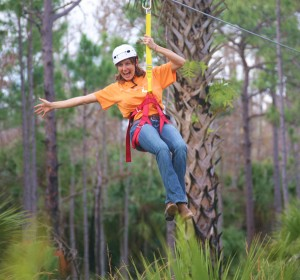 Zip line is fun to do while on a Central Florida vacation.