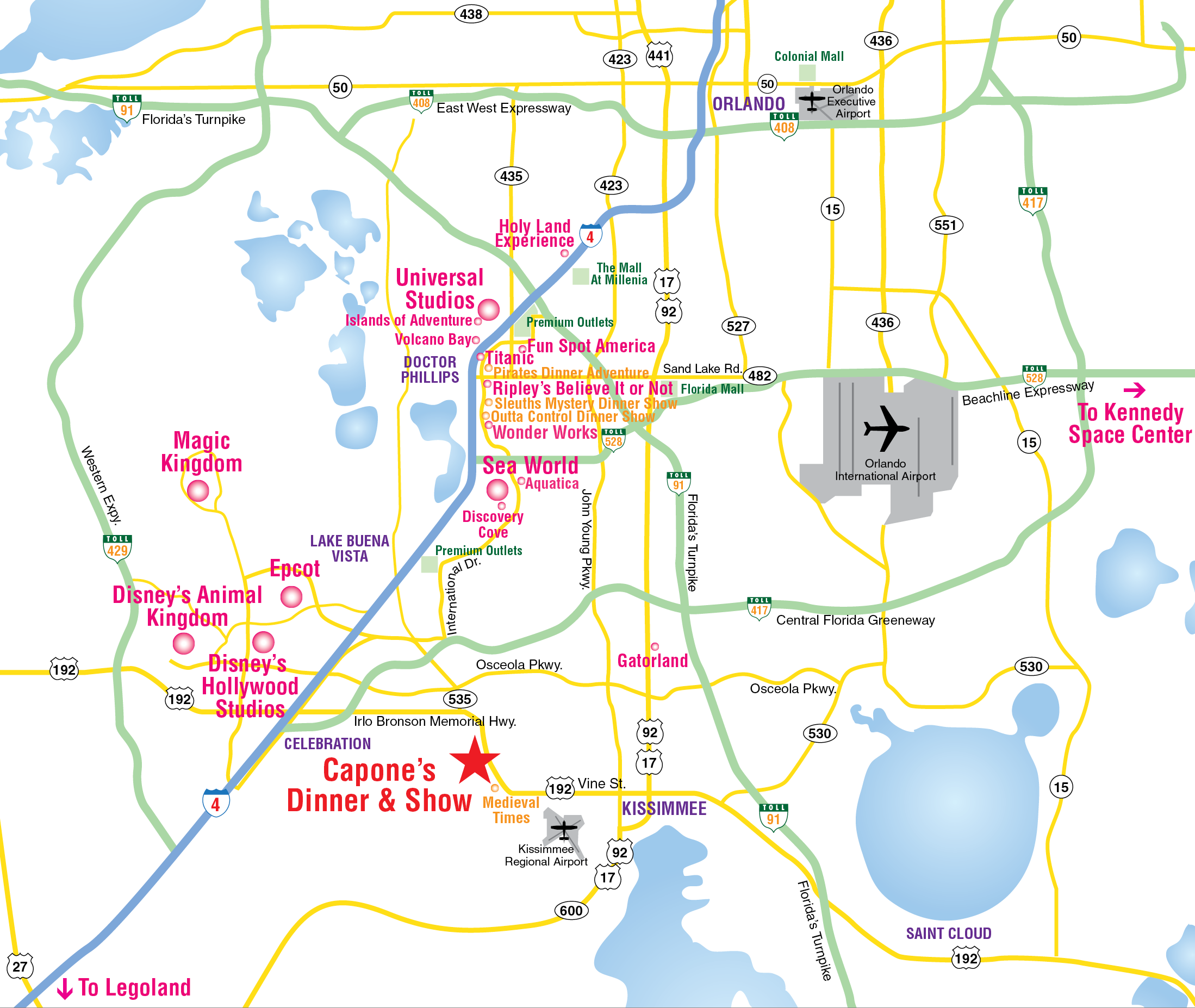 Attractions Map Orlando Area Theme Park Map Alcaponescom