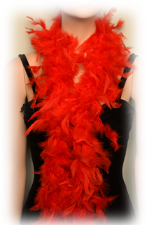 Red feathered boa for sale at Capone's Dinner and Show